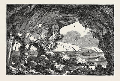 Cavern Drawing - The Isle Of Wight Freshwater Cavern by English School