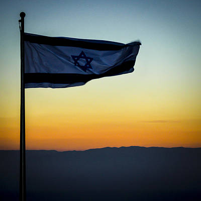 Photograph - The Israeli Flag On Masada Before Sunrise by Alan Marlowe