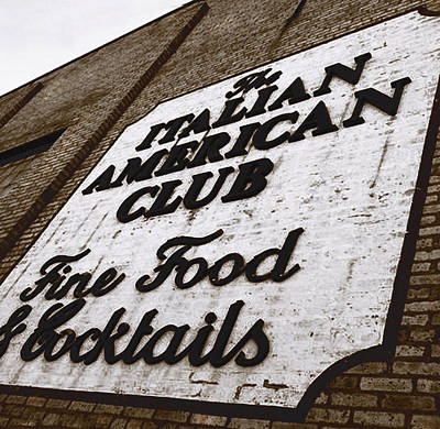 Font Photograph - The Italian American Club by Gabe Arroyo