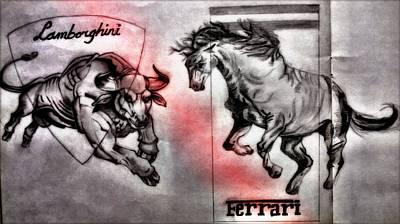 Automotive Drawing - The Italian Rivalry by Shokeen Kalyan