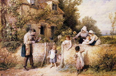 Myles Birket Foster Digital Art - The Itinerant Fiddler by Myles Birket Foster