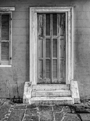 Photograph - The Jackson House Door In Black And White by Chrystal Mimbs