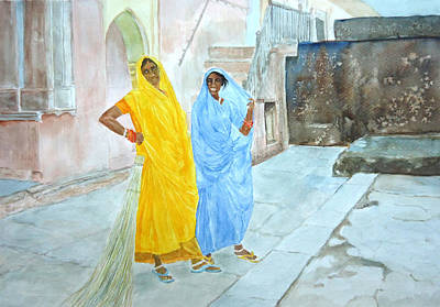 Painting - The Janitors Of Amber Fort by Mickey Raina