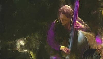 Digital Art - The Jazz Bassist by Michael Malicoat