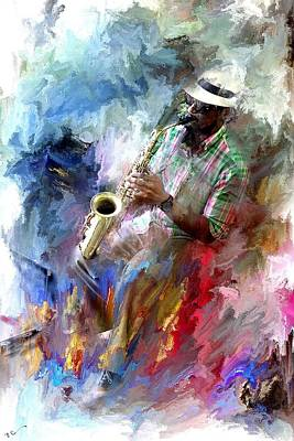 The Jazz Player Art Print by Evie Carrier