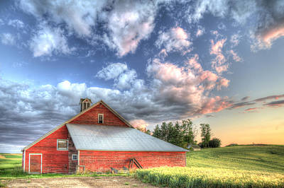 Grey Clouds Photograph - The Jenkins Red Barn by Latah Trail Foundation