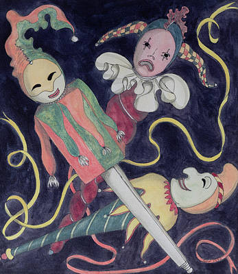 Puppets Photograph - The Jesters Puppets Wc On Paper by Carolyn Hubbard-Ford