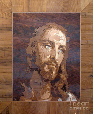 Marquetry Sculpture - The Jesus Christ Marquetry Wood Work by Persian Art