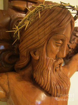 The Jesus Christ Sculpture Wood Work Wood Carving Poplar Wood Great For Church 2 Art Print by Persian Art