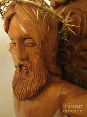 The Jesus Christ Sculpture Wood Work Wood Carving Poplar Wood Great For Church 3 Art Print by Persian Art