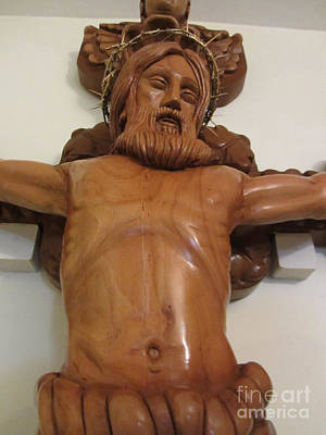 The Jesus Christ Sculpture Wood Work Wood Carving Poplar Wood Great For Church 4 Print by Persian Art