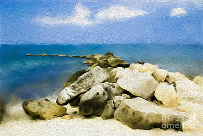 The Jetty At Seven Mile Beach In Grand Cayman Art Print