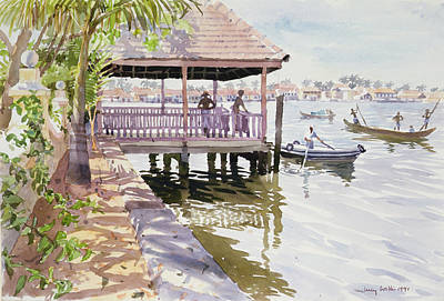 Worker Painting - The Jetty Cochin by Lucy Willis