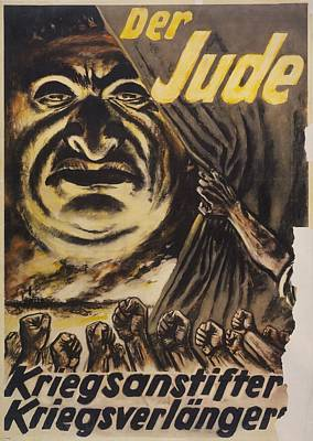 The Jew Warmonger, War Elongater. 1940s Art Print by Everett