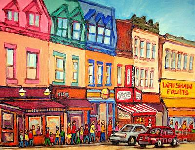 Painting - The Jewish Street Warshaw's Bargain Fruit Market Montreal Paintings City Scne Art Carole Spandau by Carole Spandau