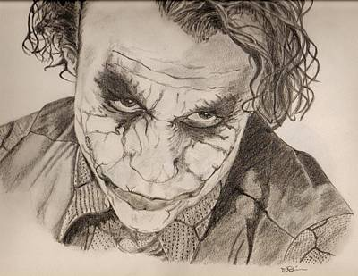 The Dark Knight Drawing - The Joker by Colourful Phoenix