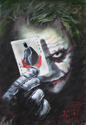 The Dark Knight Drawing - The Joker Heath Ledger  by Viola El