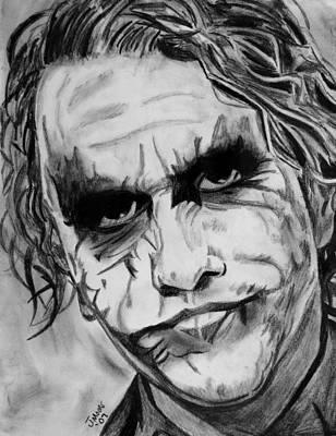Heath Ledger Drawing - The Joker II by Jeremy Moore