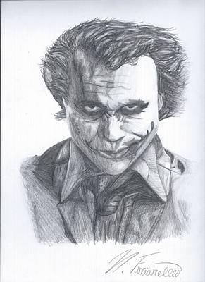 The Dark Knight Drawing - The Joker by Nicholas Fuciarelli