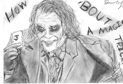 The Dark Knight Drawing - The Joker by Sean Cordy