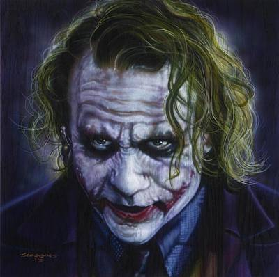 Heath Ledger Wall Art - Painting - The Joker by Timothy Scoggins
