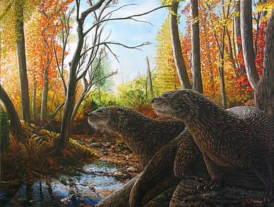 Otter Painting - The Journey by Cara Bevan