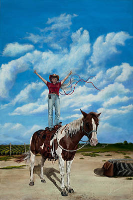 Painting - The Journey Of The Horse Trainer by Cindy D Chinn