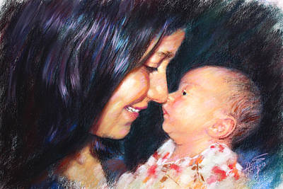 Drawing - The Joy Of A Young Mother by Viola El