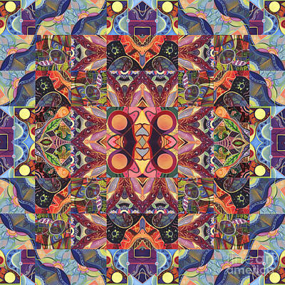 Digital Art - The Joy Of Design Mandala Series Puzzle 1 Arrangement 3 by Helena Tiainen