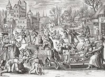 Daily Life Photograph - The Joys Of Winter, After The 16th Century Engraving By De Bruyn.  From Illustrierte by Bridgeman Images