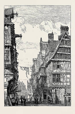 The Main Drawing - The Judengasse At Frankfort-on-the-main by English School