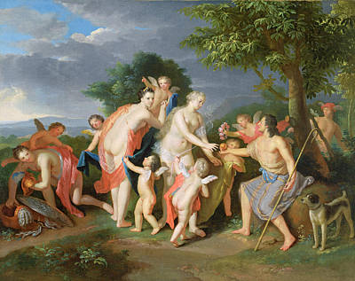 The Judgement Of Paris Art Print by Gerard Hoet