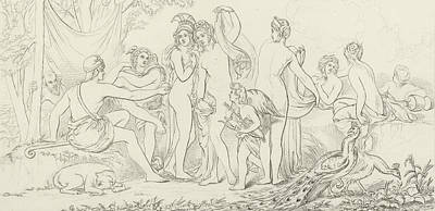 Peacock Drawing - The Judgement Of Paris by William Etty