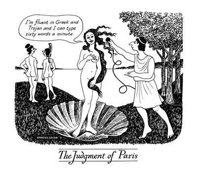 Microphone Drawing - The Judgment Of Paris by J.B. Handelsman