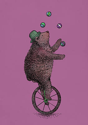 Bears Drawing - The Juggler by Eric Fan