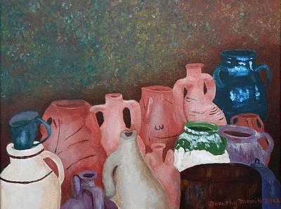 Greek Vase Painting - The Jugs At Santorini by Dorothy Merritt