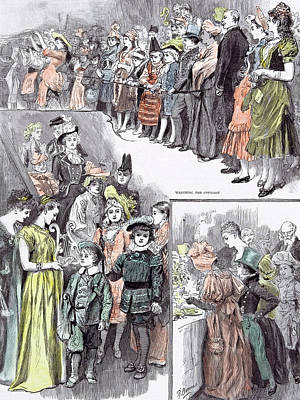 Straw Hat Drawing - The Juvenile Fancy Dress Ball In 1891 Watching The Cotillon by English School