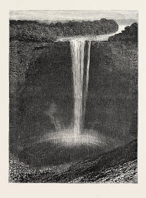 Volumes Drawing - The Kaieteur Falls, British Guiana, Engraving 1884 by Caribbean School