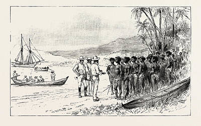 The Kanaka Labour Question In Queensland Recruiting Traders Print by Australian School