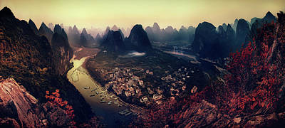 Aerial Photograph - The Karst Mountains Of Guangxi by Clemens Geiger