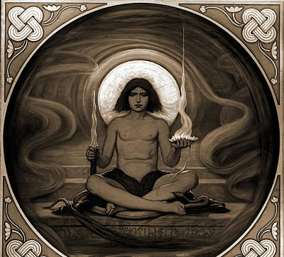 Keeper Drawing - The Keeper Of The Threshold, Vedder, Elihu by Litz Collection