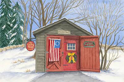 New England Snow Scene Painting - The Keeping Room by Rhonda Leonard