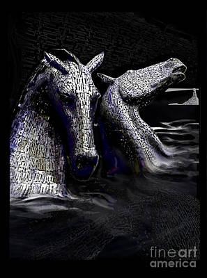Kelpie Digital Art - The Kelpies by Barry Lamont
