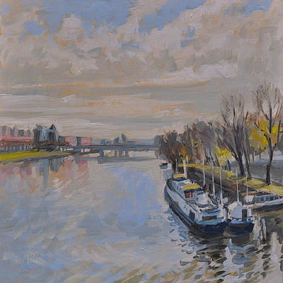 Boat Painting - The Kennedy Bridge Maastricht by Nop Briex