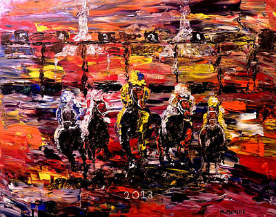Kentucky Derby Painting - The Kentucky Derby 2013  And They're Off  by Mark Moore