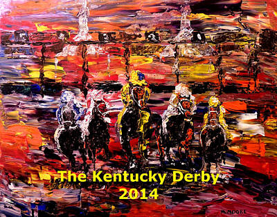 Kentucky Derby Painting - The Kentucky Derby 2014- And They're Off Without Year  by Mark Moore