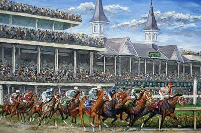 Race Horse Painting - The Kentucky Derby - Churchill Downs by Mike Rabe