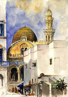 Orientalist Painting - The Ketchaoua Mosque by Juan  Bosco