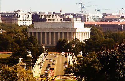 Lincoln Memorial Digital Art - The Key Bridge And Lincoln Memorial by Bill Cannon