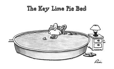 Flamingos Drawing - The Key Lime Pie Bed by J.P. Rini